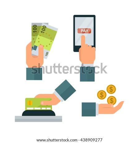 Hand with money isolated on white background. Currency banking cash wealth success pay money hands. Bank payment investment paying vector give money hands. Businessman exchange savings. - stock vector