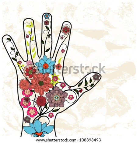 Hand with painted flowers background - stock vector