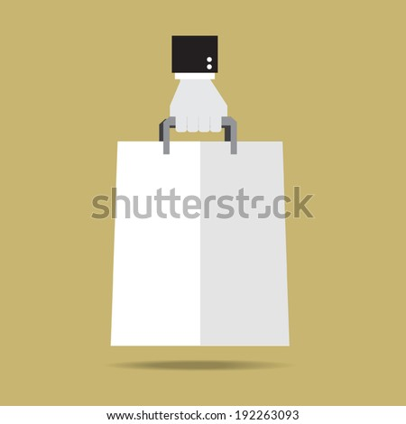 Hand with paper shopping bag icon.  Flat design.Vector EPS 10 - stock vector