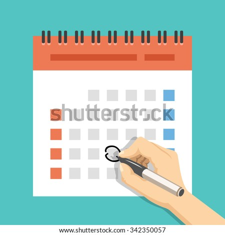 Hand with pen mark calendar. US version with week started on Sunday. Important event. Modern flat design concept for web banners, web sites, printed materials, infographics. Flat vector illustration - stock vector