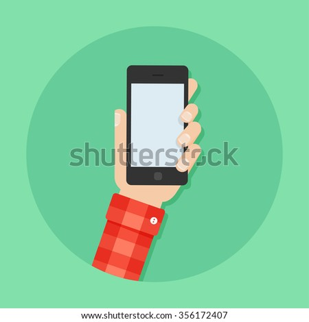 Hand with phone vector illustration. Man's hand with phone. Hand with phone flat illustration. Hand holding a phone concept. Smartphone in hand. Hand with phone isolated on background.  - stock vector