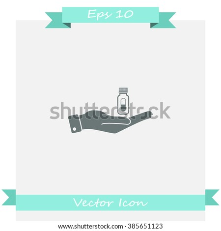 Hand with pills vector icon. - stock vector