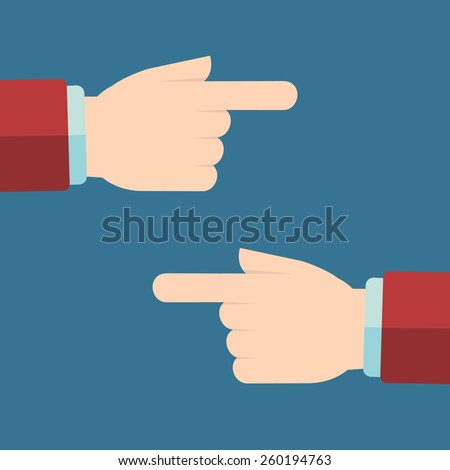 Hand with pointing finger left and right. - stock vector