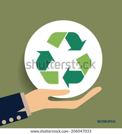 Hand with Recycle symbol. Vector symbol on the packaging, vector Illustration. - stock vector