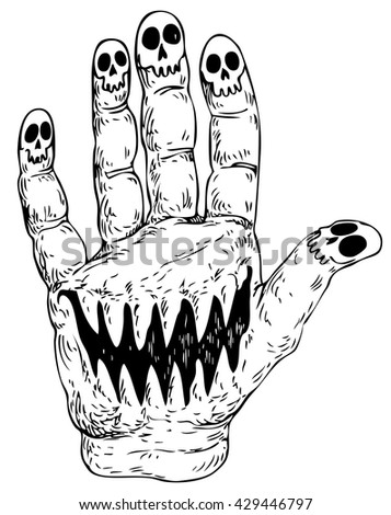 Hand with skulls for Halloween - hand drawn vector illustration, isolated on white - stock vector
