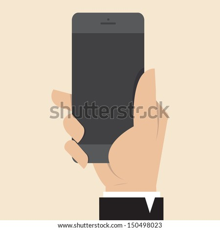 Hand with Smart Phone - stock vector
