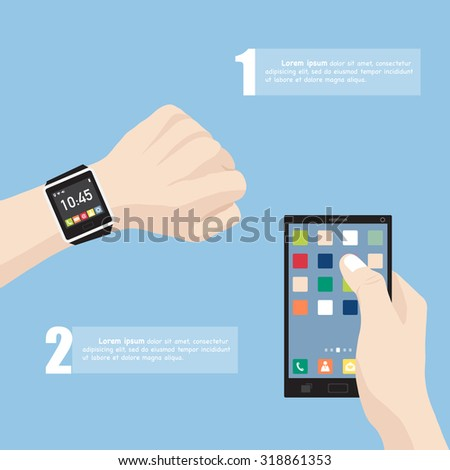Hand with smart watch and hand holding mobile phone interface with smart phone, Vector Illustration EPS 10. - stock vector