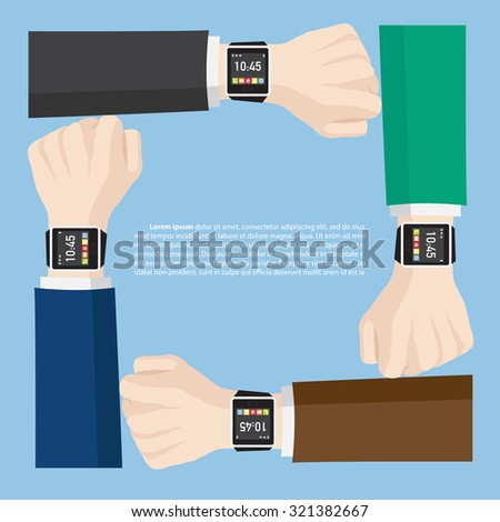 Hand with smart watch interface for technology and business concept, Vector Illustration EPS 10. - stock vector