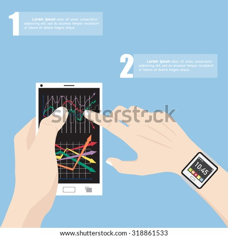 Hand with smart watch touching finance graph on mobile phone interface with smart phone, Vector Illustration EPS 10. - stock vector