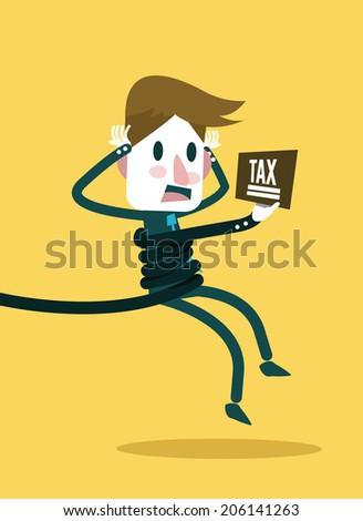 Hand with tax bundle a businessman. taxes burden concept. vector illustration - stock vector