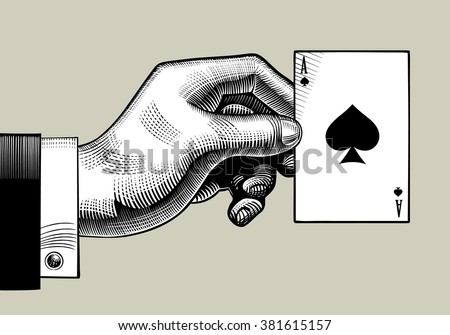 Hand with the ace of Spades playing card. Vintage engraving stylized drawing. Vector illustration  - stock vector