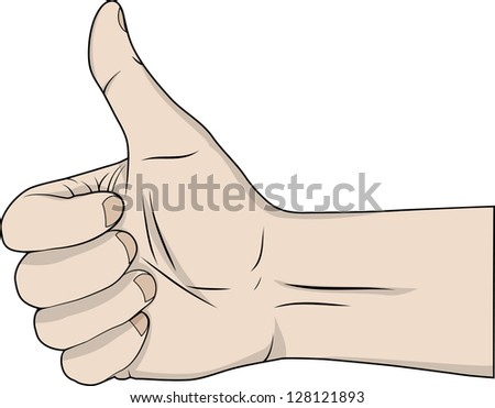 Hand with the thumb lifted upwards - stock vector