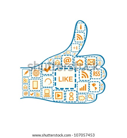 Hand with Thumb up and Social Media Square Icons. Vector Illustration Isolated on White Background - stock vector