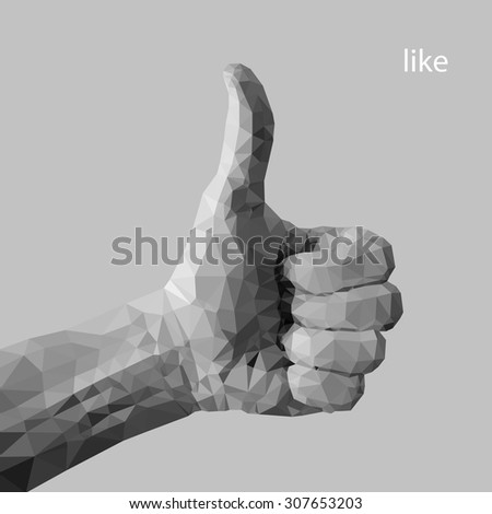 Hand with thumb up - sign by man hand, isolated on white background. Hand - sign from man hand (illustration of a many triangles) - stock vector