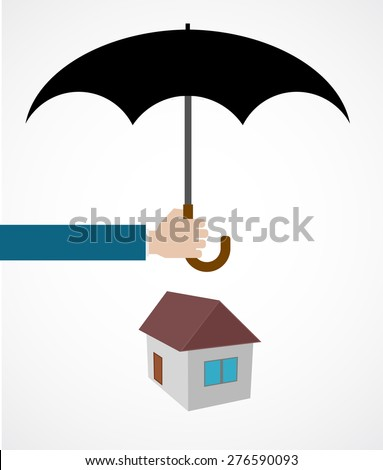 hand with umbrella cover house icon concept - stock vector