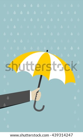 Hand with umbrella rain protection - stock vector