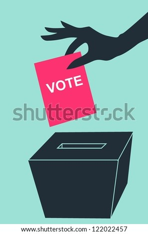 Hand with voting ballot and box on grey background - stock vector