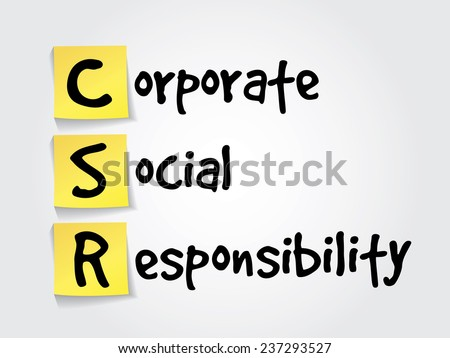 Hand writing acronym Corporate Social Responsibility (CSR) on yellow sticky notes, business vector concept - stock vector