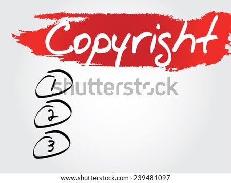 Hand writing Copyright Blank List, vector concept background - stock vector