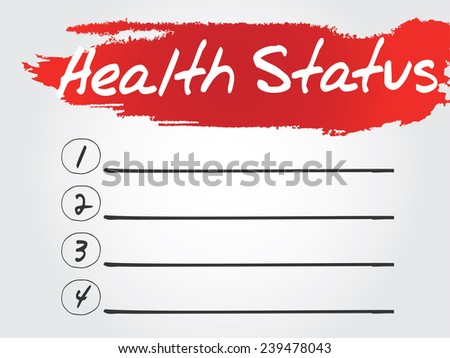 Hand writing Health Status Blank List, vector concept background - stock vector