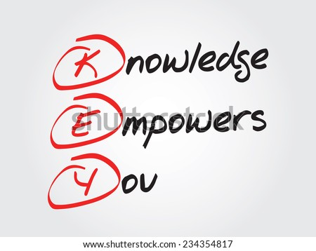 Hand writing Knowledge Empowers You (KEY), vector concept background - stock vector