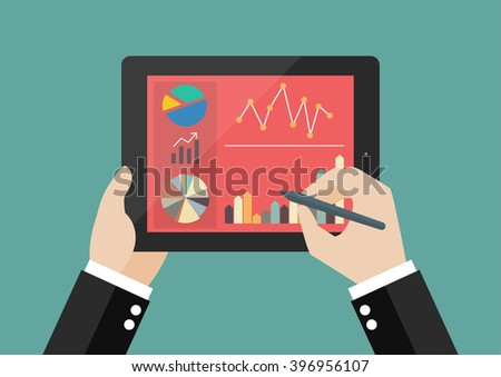 Hand writing on screen of tablet with flat simplistic inforgraphic charts. Flat style design - stock vector