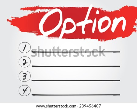Hand writing Option Blank List, vector concept background - stock vector