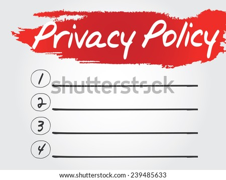 Hand writing Privacy Policy Blank List, vector concept background - stock vector