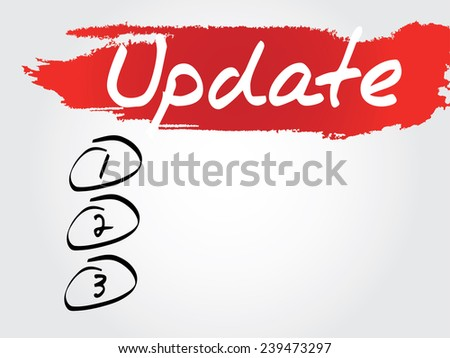 Hand writing Update Blank List, vector concept background - stock vector