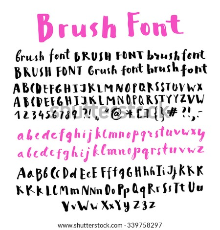 Hand written brush script alphabet with many variations of letters in vector. Creative hand writing, modern calligraphy. Hand lettering template for graphic design. - stock vector