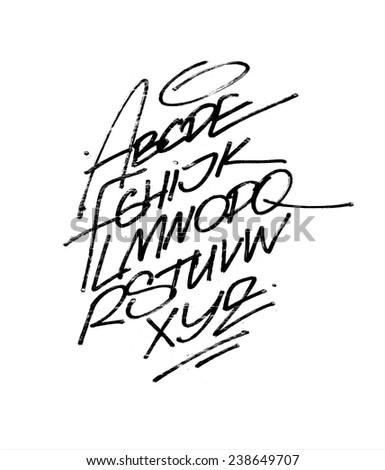 Hand written calligraphy alphabet. Detailed vector - stock vector