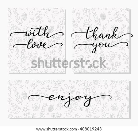 Hand written calligraphy style messages set. Lettering thank you, with love, enjoy. Typography label graphic design lettering element. Hand written calligraphy style signs. Package decoration element. - stock vector