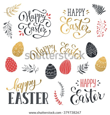 Hand written Easter phrases in red and gold. Greeting card text templates with Easter eggs isolated on white background. Happy easter lettering modern calligraphy style.  - stock vector
