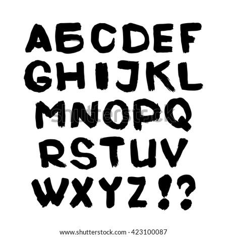 Hand written font. Black English alphabet on white background. - stock vector