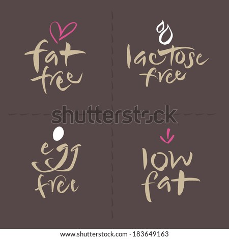 Hand written unhealthy or allergenic food vector label set. Fat free, Lactose free, Low fat. Eps and hi-res jpg included. - stock vector