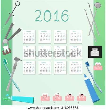 Hand-written vector calendar 2016 with plane dental icons. Vector. Medicine. - stock vector