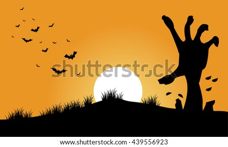 Hand zombie and bat halloween backgrounds silhouette illustration - stock vector