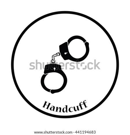 Handcuff  icon. Thin circle design. Vector illustration. - stock vector