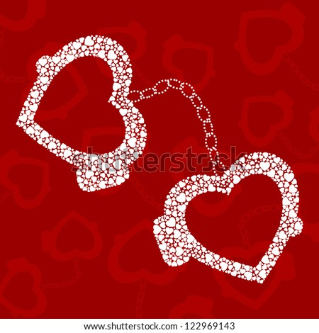 handcuffs and white hearts on red background. - stock vector