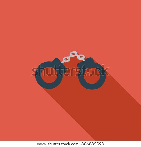 Handcuffs icon. Flat vector related icon with long shadow for web and mobile applications. It can be used as - logo, pictogram, icon, infographic element. Vector Illustration. - stock vector