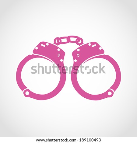 Handcuffs Silhouettes Icon Isolated on White Background - stock vector