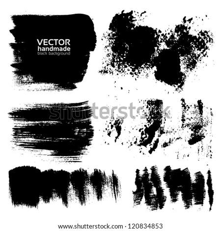 Handdrawing textured brush strokes - stock vector