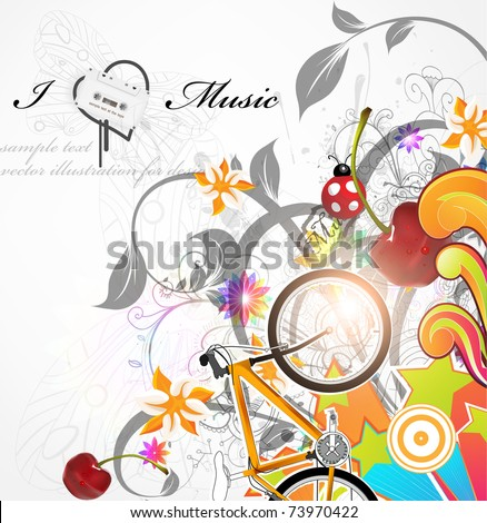 Handdrawn floral design elements. Spring music design with cherry and bike. eps 10. - stock vector