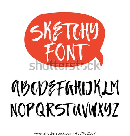 Handdrawn latin alphabet. Brushy letters. Vector ABC with real texture - letters isolated and easy to use for your lettering design. Sketchy script. - stock vector