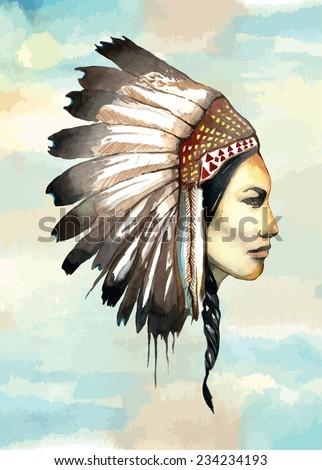 Handdrawn watercolor painted Navajo - Aztec - Indian girl vector illustration - stock vector