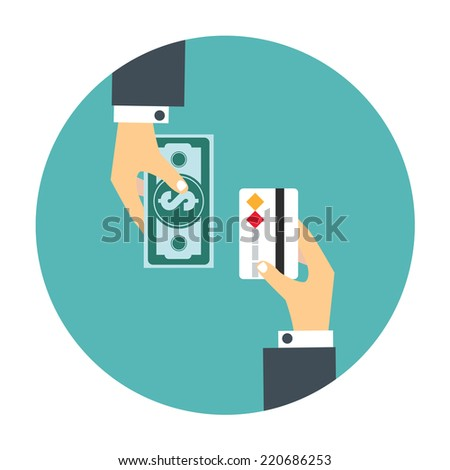 Handgiving money to other hand.Hands of two men one holding a banknote the other a  card.  - stock vector