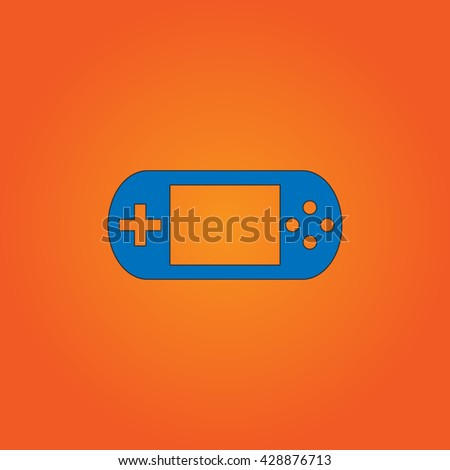 Handheld game console. Blue flat icon with black stroke on orange background. Collection concept vector pictogram for infographic project and logo - stock vector