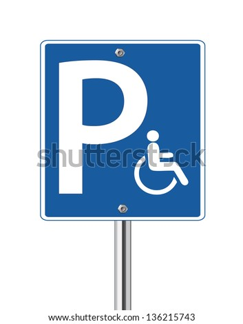 Handicap parking traffic sign on white - stock vector