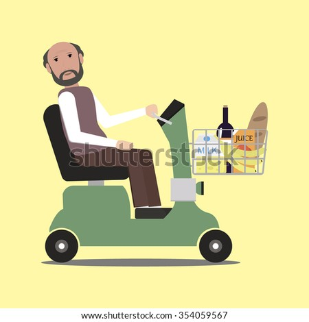 Handicapped shopping with mobility scooter  - stock vector
