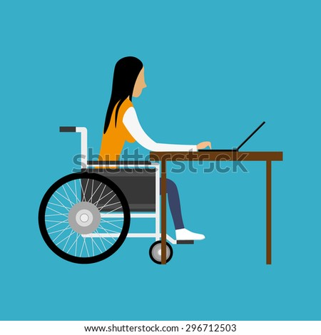 Handicapped woman working with laptop - stock vector